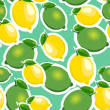 Seamless pattern with big lemons and limes with leaves. Turquoise background. Royalty Free Stock Photography
