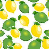 Seamless pattern with big lemons and limes with leaves. White background. Royalty Free Stock Images