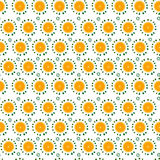 Seamless pattern with big orange slices and small leaves. Vector illustration Stock Photography