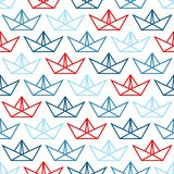 Seamless Pattern Big Paper Boats Outline Blue And Red royalty free illustration