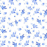 Seamless pattern of bilberry and leaves. Stock Images