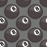 Seamless pattern with billiards ball vector black symbol game tile sport shape backdrop illustration. Royalty Free Stock Images
