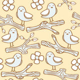 Seamless Pattern With Bird On Branch Stock Photography