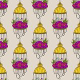 Seamless pattern with bird cages and poppies. Boho style. Pattern for textile, packaging, greeting cards, invitations, wedding decoration. Bohemian design stock illustration
