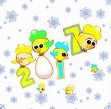 Seamless pattern bird cockerel symbol calendar 2017 of figure Royalty Free Stock Photos