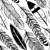 Seamless pattern of bird feathers Stock Image