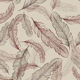 Seamless pattern of bird feathers Stock Photo