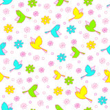 Seamless,pattern of  bird and flower Stock Image