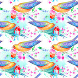 Seamless pattern of a bird and flowers. Poppy, bluebell, lavender, cornflower, berry, chamomile and daisy. Watercolor hand drawn illustration.White background Stock Illustration