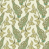 Seamless pattern with bird and leaf Royalty Free Stock Photos