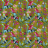 Seamless pattern with bird, leaves and flowers for textile design. Seamless pattern with bird, leaves and flowers Stock Image