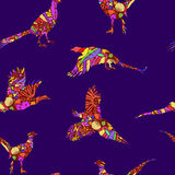 Seamless pattern of bird pheasant, vector silhouettes. Royalty Free Stock Photography