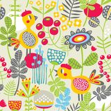 Seamless pattern with bird in red head. Stock Photo