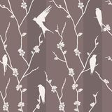 Seamless pattern with bird on sakura branches Royalty Free Stock Photography