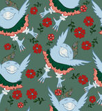 Seamless pattern - a bird in a skirt and knickers flying in good humor. Stock Photo