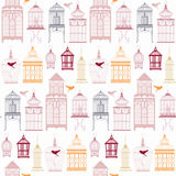 Seamless pattern with birdcage. Stock Photography