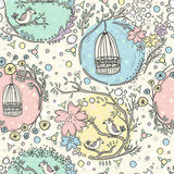Seamless pattern with birdcages, flowers and birds stock illustration