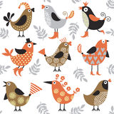 Seamless pattern with birds stock illustration