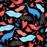 Seamless pattern with birds and autumn leaves Stock Images