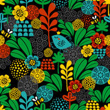 Seamless pattern with birds and bees. Stock Images