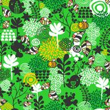 Seamless pattern with birds and bees. Stock Photography