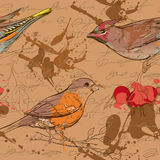 Seamless pattern with birds, berries and smudges 3 Royalty Free Stock Images