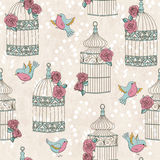 Seamless pattern with birds, birdcages and roses Stock Photos
