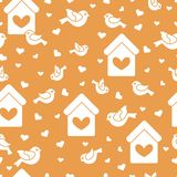 Seamless pattern with birds, birdhouses and hearts. Cute seamless pattern with birds, birdhouses and hearts.Template for design, fabric, print. Greeting card Stock Photography