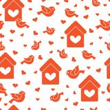 Seamless pattern with birds, birdhouses and hearts. Cute seamless pattern with birds, birdhouses and hearts.Template for design, fabric, print. Greeting card Royalty Free Stock Images