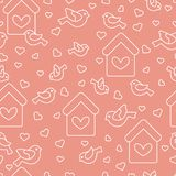 Seamless pattern with birds, birdhouses and hearts. Cute seamless pattern with birds, birdhouses and hearts.Template for design, fabric, print. Greeting card Royalty Free Stock Photography
