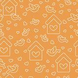 Seamless pattern with birds, birdhouses and hearts. Cute seamless pattern with birds, birdhouses and hearts.Template for design, fabric, print. Greeting card Stock Image