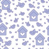 Seamless pattern with birds, birdhouses and hearts. Cute seamless pattern with birds, birdhouses and hearts.Template for design, fabric, print. Greeting card Royalty Free Stock Photo