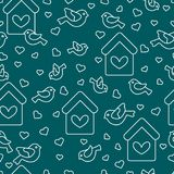Seamless pattern with birds, birdhouses and hearts. Cute seamless pattern with birds, birdhouses and hearts.Template for design, fabric, print. Greeting card Stock Images