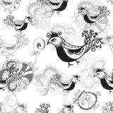 Seamless pattern with birds black and white Royalty Free Stock Image