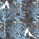 Seamless pattern with birds and blooming trees Royalty Free Stock Photography