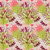 Seamless pattern with birds and blooming trees Stock Photos
