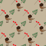 Seamless pattern with birds, branches and berries Royalty Free Stock Photography