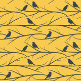 Seamless pattern with birds on branches vector eps8 Stock Photos