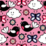 Seamless pattern with birds and butterflies. Cute seamless pattern with birds and butterflies royalty free illustration