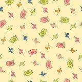 Seamless pattern with birds and butterfly. Royalty Free Stock Photos