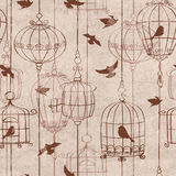 Seamless pattern with birds and cage Royalty Free Stock Photo