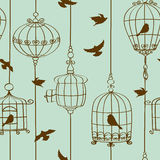 Seamless pattern of birds and cages Royalty Free Stock Image