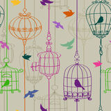 Seamless pattern of birds and cages Stock Photography