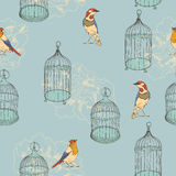 Seamless pattern with birds and cages. Wedding background. Stock Images