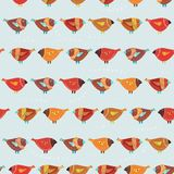 Seamless pattern with birds in cartoon vintage style. Royalty Free Stock Image