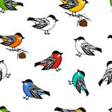 Seamless pattern birds and Christmas animals. New Year bird cardinal or tit. winter holidays. engraved hand drawn in old. Sketch and vintage style for postcards stock illustration