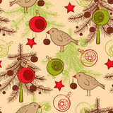 Seamless pattern with birds and Christmas tree Stock Photography