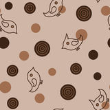 Seamless pattern with birds and circles in brown colours Stock Photography