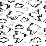 Seamless pattern with birds and clouds.Background with funny fl. Ying animals in the sky. Vector illustration in doodle hand drawn incomplete children style Stock Illustration