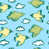 Seamless pattern with birds and clouds.Background with funny fl. Ying animals in the sky. Vector illustration in doodle hand drawn incomplete children style Vector Illustration